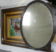 Oak frame early 20th Century Mirror: with painted flowers decoration together with similar oval