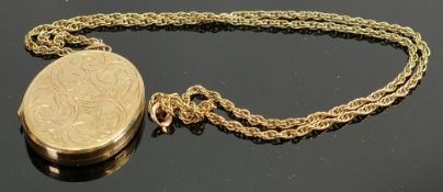 Hallmarked 9ct gold large locket, and 9ct chain: Locket measures 44cm high, chain 49cm long appx.