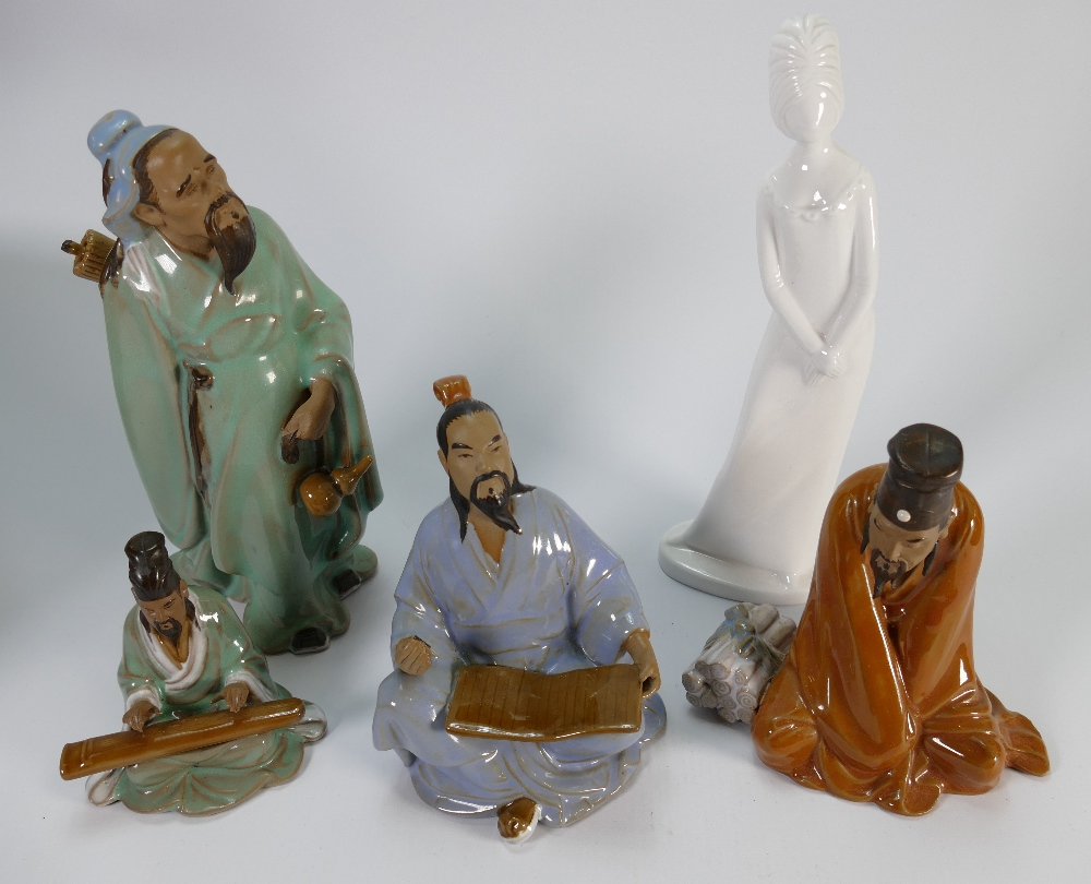 A collection of Oriental stoneware character figures of men: and a Spode white figure,
