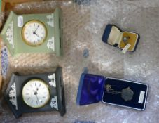Two Wedgwood jasper ware clocks, together with jewellery: Gold plate on sterling silver,