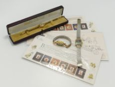 A collection of items: including 9ct gold Lanco ladies wristwatch with rolled gold bracelet,