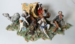 Capodimonte figure group of Gypsy Encampment : damage noted,