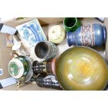 A mixed collection of items to include: studio pottery vase, series ware fruit bowl,