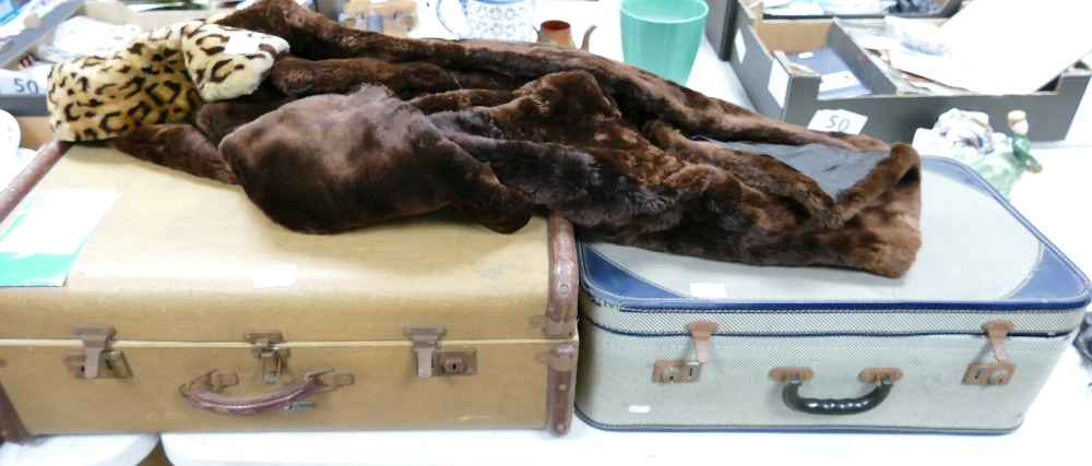 A mixed collection of items to include: inter fitting suitcases, Canvas travelling trunk,