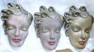 Three French Art Deco Face Mask Wall Plaques marked Paris & dated 1914