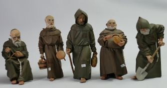 A collection of Spanish Algora Monk Figures: height of tallest 23cm(5)