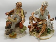 Capodimonte figures of Tramps: damage noted,