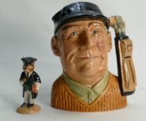 Royal Doulton Large Character Jug Golfer D6623: together with Bunnykins figure Schoolmaster(2)
