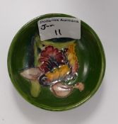 Moorcroft Orchid on Green Ground small bowl: diameter 8.