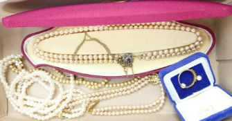 A collection of ladies jewellery: Including Lotus pearls with silver clasp,
