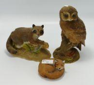 Aynsley Matt Figures to include: Owl, Racoon & Curled Fox,