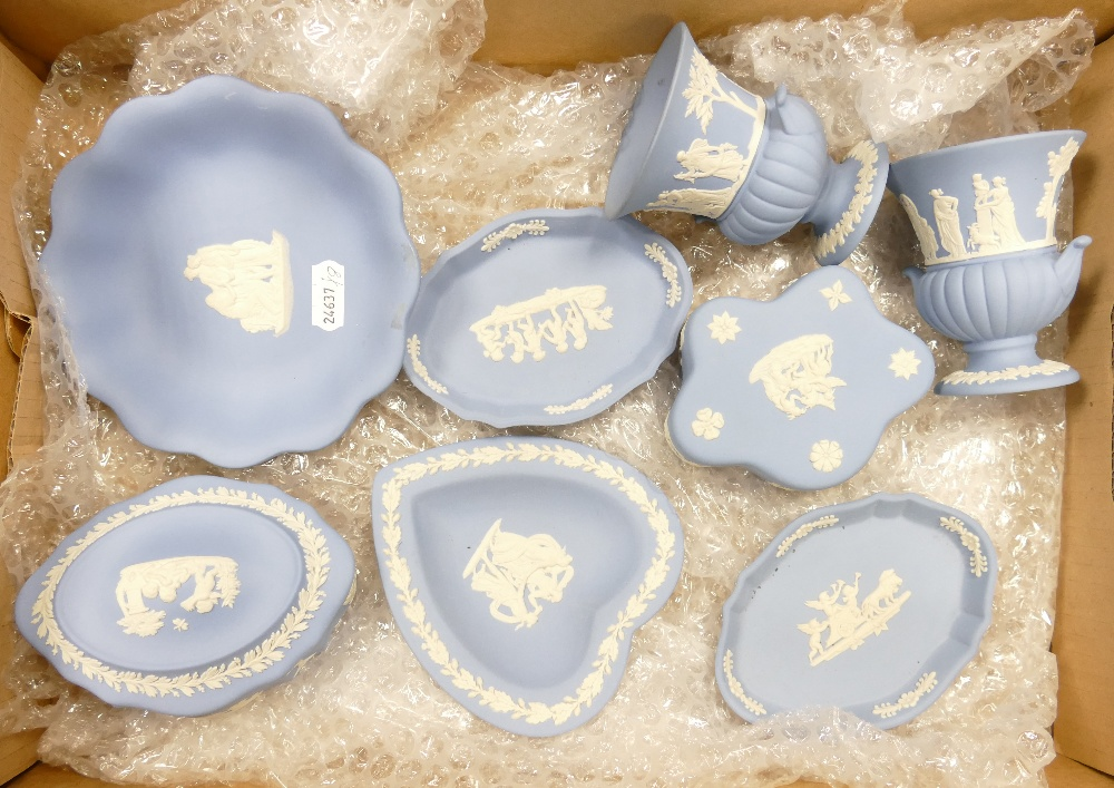 A group of 8 pieces of Wedgwood blue jasper ware: Includes vases,
