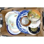 A mixed collection of items to include: hand decorated 19th Century plates,