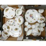 A large collection of Mayfair Traveller & Flemenco decorated Tea & Dinner ware(2 trays)
