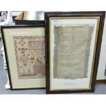 Two needlework samplers 1721 & 1834: The particularly early example of 1721 by Sarah Gascoy(ne)