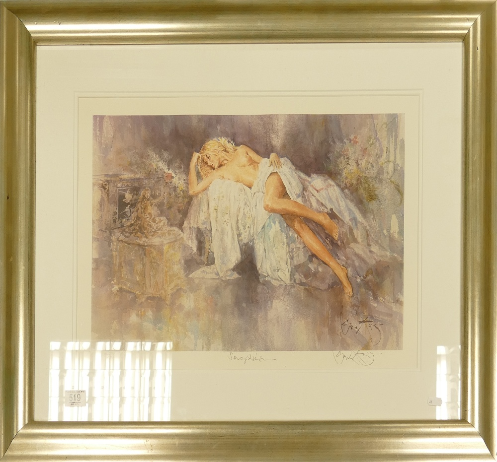 Large Limited Edition Reclining Nude Print: