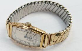 Vertex Art Deco 9ct gold gentlemans wristwatch: With expandable gold plated bracelet.