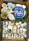 A mixed collection of items to include: blue & white lidded tureen, egg cups, tea and coffee pots,