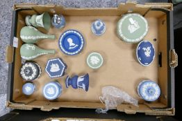 Wedgwood jasper ware to include: sage green vases and lidded boxes, dark blue vase , egg box blue