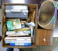 A mixed collection of items to include: Eumig 8 projector, small wooden table, wicker basket, hard