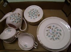 tuscan blue star dinner ware: to include 6 dinner plates, 10 salad plates, 11 saucers, 4 soup