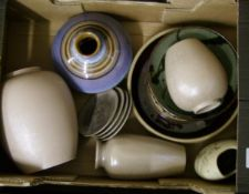 A mixed collection of items to include : Poole and similar studio pottery vases, bowls and coasters