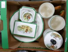 Copeland Spode hunting scene items to include: two tankards, lidded box, pin dishes, plates, etc