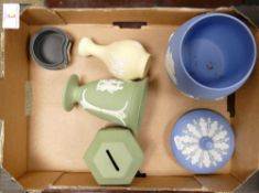 Wedgwood jasper ware items to include: sage green vase and money box, blue planter, yellow vase etc
