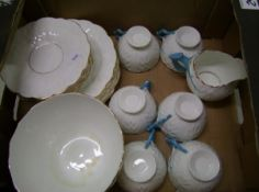 Aynsley style part tea set: to include 6 trio's, milk jug and large bowl. hairlines to jug and bowl