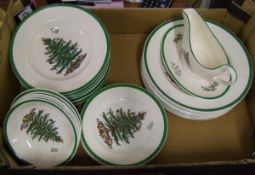 A collection of Spode Christmas tree patterned dinner ware: to include 8 dinner plates, 8 rimmed