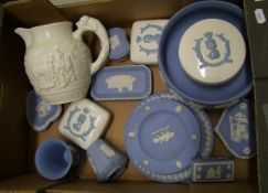 A collection of Wedgwood jasper ware: to include plates, footed bowl ( chip to rim), vases, lidded