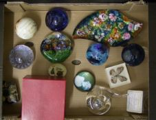 A mixed collection of items to include : Caithness and similar paperweights together with art
