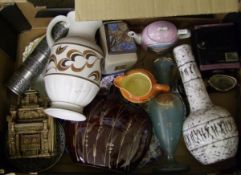 A mixed collection of items to include : Studio pottery vase, decorative glass ware, E radford