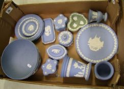 A collection of Wedgwood jasper ware: to include bowl, vases, lidded boxes, Christmas plate etc (1