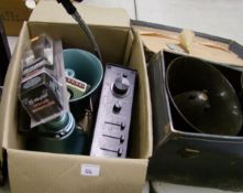A mixed collection of items: Realistic power horns, amplifier, Gelono speakers, glue gun, hammer