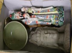 A mixed collection of items to include : large Vietnamese immortal figure, bust of budda and Thai