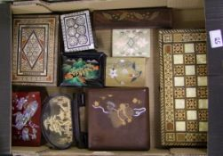 A mixed collection of items to include : Inlaid and soft stone boxes etc