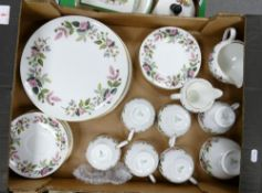 Wedgwood Hathaway rose tea and dinner ware: to include 5 trios, sugar bowl, two milk jugs, 5