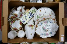 A mixed collection of items to include Royal Albert old country roses: cups, saucers, vase,