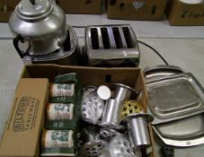 A mixed collection of items: toaster, mugs, trays, flower posy holders, hot water flasks etc.