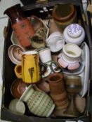A collection of studio pottery: to include a Den goblet, USSR jug, vases bowl, pots etc ( 1 tray)