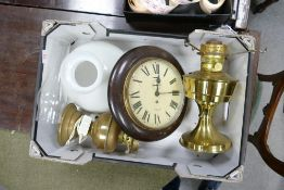 A brass oil lamp with shade: together with a Smith empire wall clock and oil lamp base