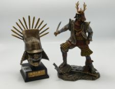Resin bronzed figures: of samurai and similar mask (2)