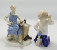 German ceramic figure of book maker: together with similar child (2)