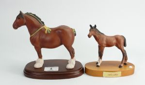 Beswick Adventure on plinth: together with Royal Doulton show horse on plinth (2)