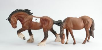 Beswick action shire : 2578 together with Royal Doulton grazing horse.