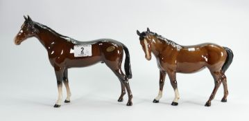 Beswick Bois Roussel brown gloss horse:701 together with mare facing left 976 (2)