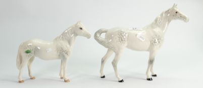 Beswick grey swish tail horse: together with Connemara horse ( boxed) (2)