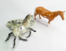 Beswick Przewalski's wild horse: ( detatched from base) number 369 of 1000 together with a palomino