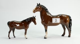 Beswick Welsh cob standing: 1793 together with mare facing right 1991 (2)